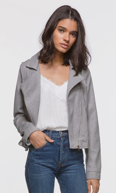 Women's grey brushed boucle moto jacket