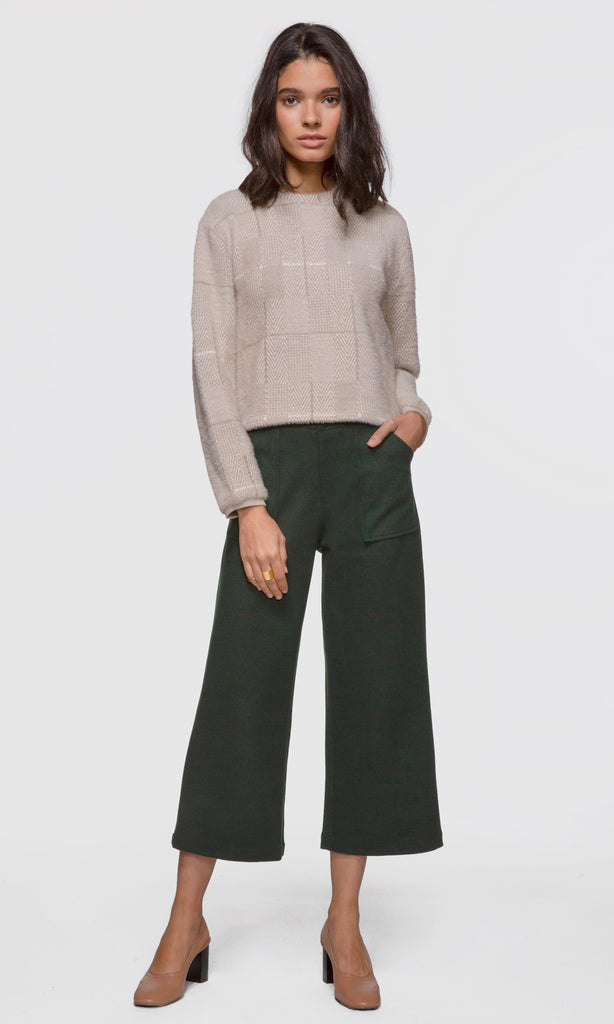 Women's green brushed boucle culotte pants