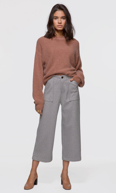 Women's grey brushed boucle culotte pants