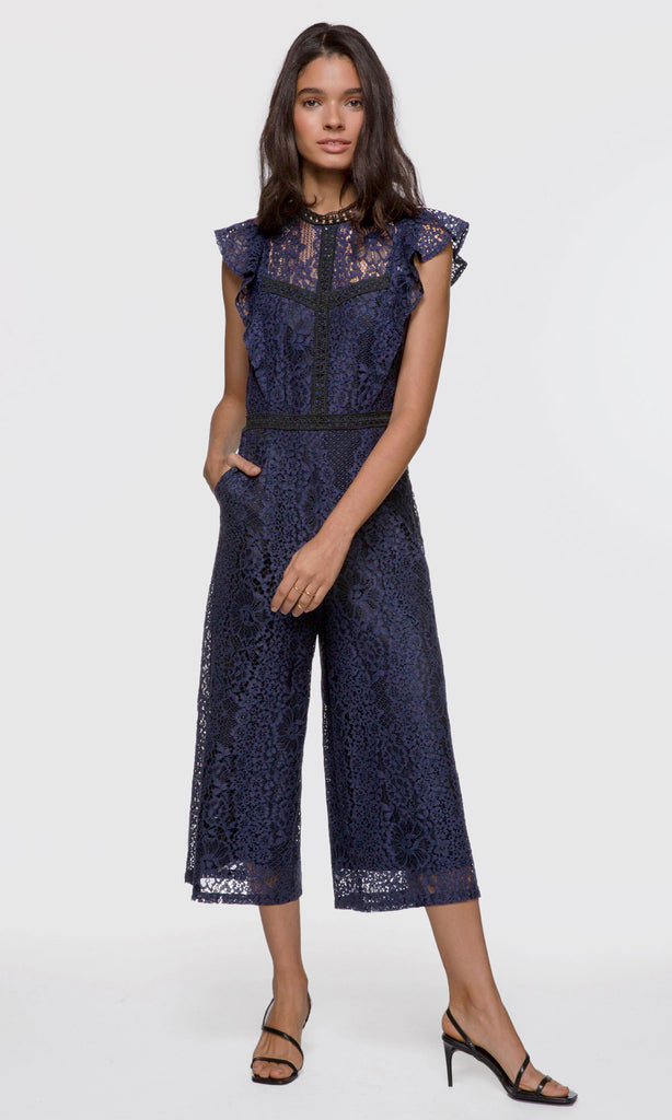 Women's navy lace flutter sleeve culotte jumpsuit
