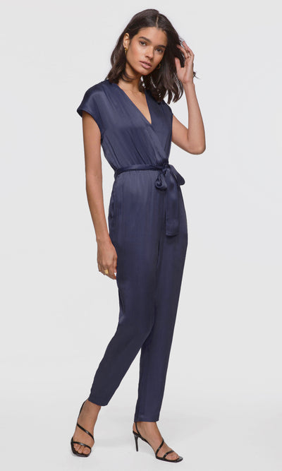 Women's navy wrap tie-waist jumpsuit