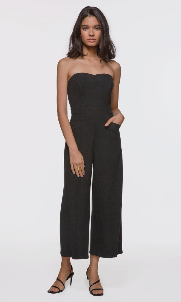 Women's black strapless corduroy stretch jumpsuit