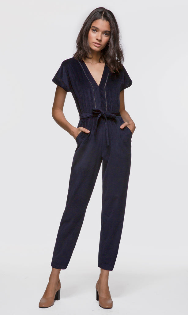 Women's navy corded short sleeve tie waist twill jumpsuit