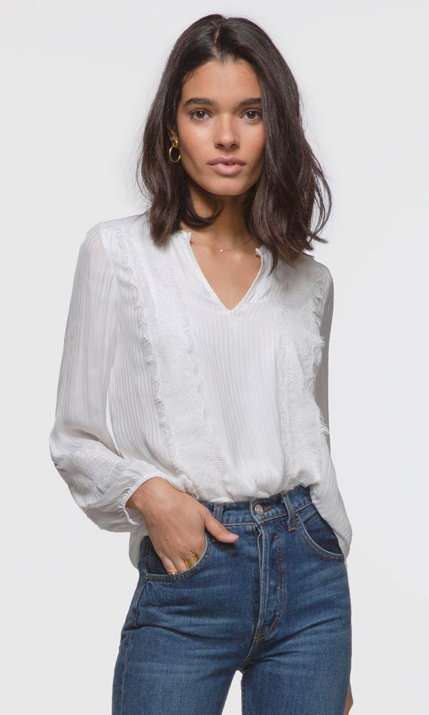 Kiara Shadow Stripe Lace Trim Blouse