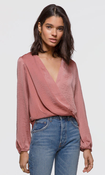 Women's rose silk long sleeve drape front blouse