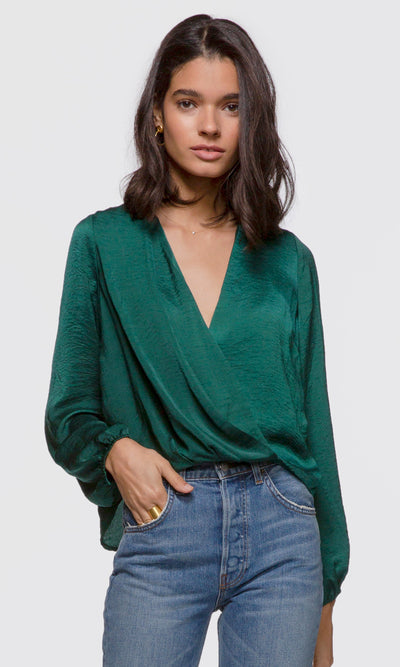 Women's green long sleeve drape front blouse