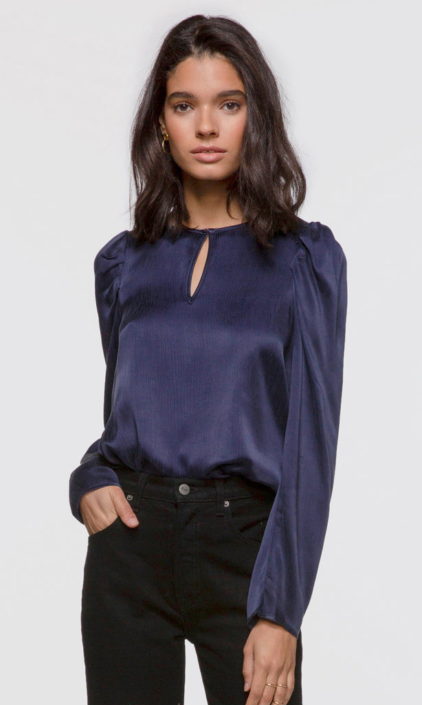 Women's navy pouf long sleeve keyhole blouse