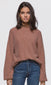 Women's rose balloon sleeve ribbed knit sweater