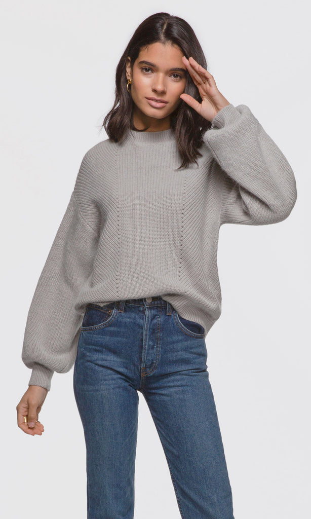Women's grey balloon sleeve ribbed knit sweater