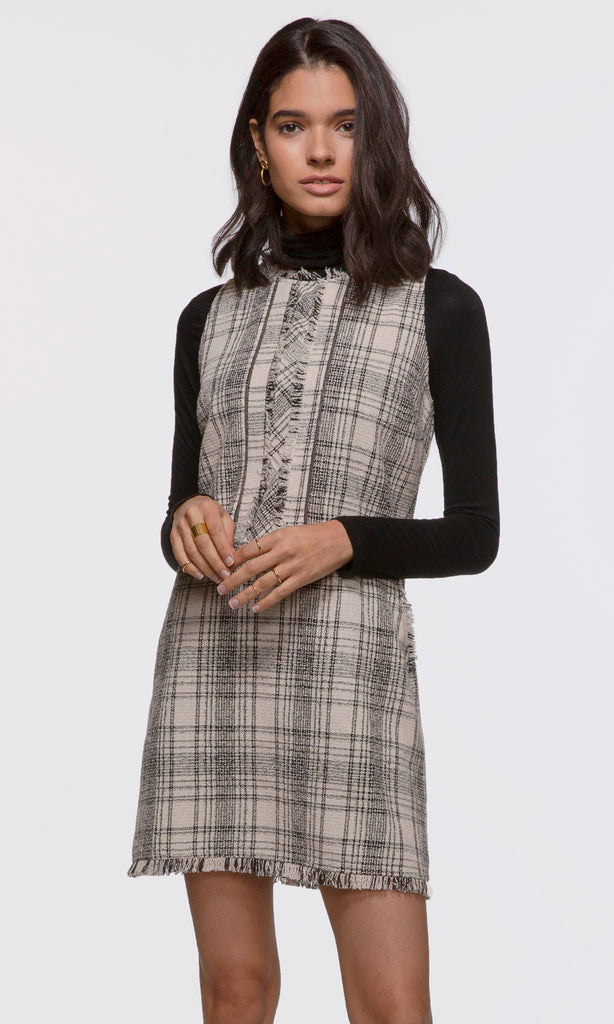Women's ivory and black plaid tweed dress with fringe trim