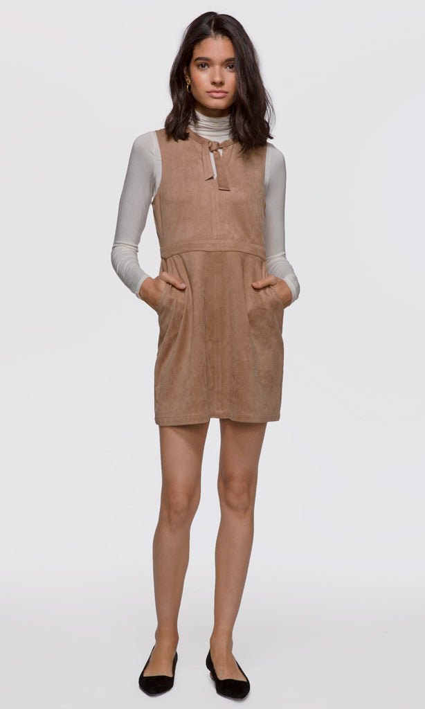 Women's camel vegan suede keyhole neck-tie dress