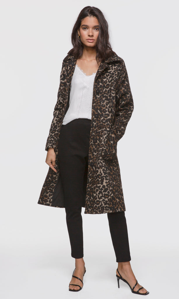 Women's leopard print soft coat