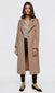 Women's camel brushed viscose fuzzy coat