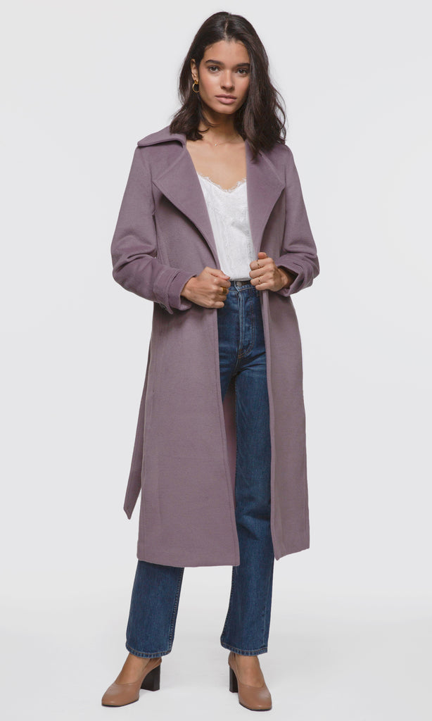Women's lilac tie-waist long coat