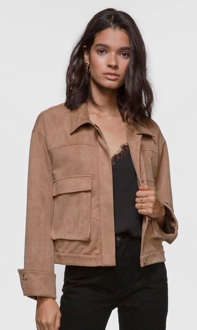 Women's camel vegan suede jacket
