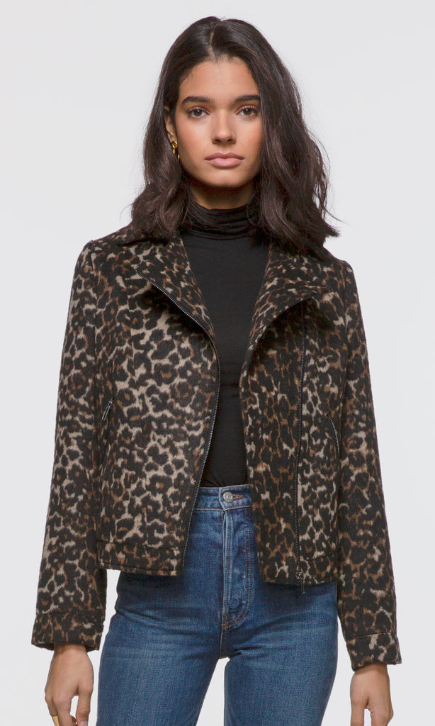 Women's leopard print soft moto jacket