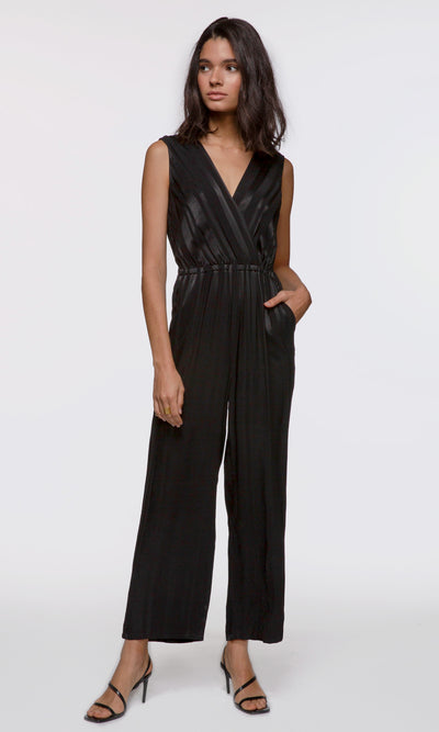 Women's black sleeveless surplice shadow stripe jumpsuit