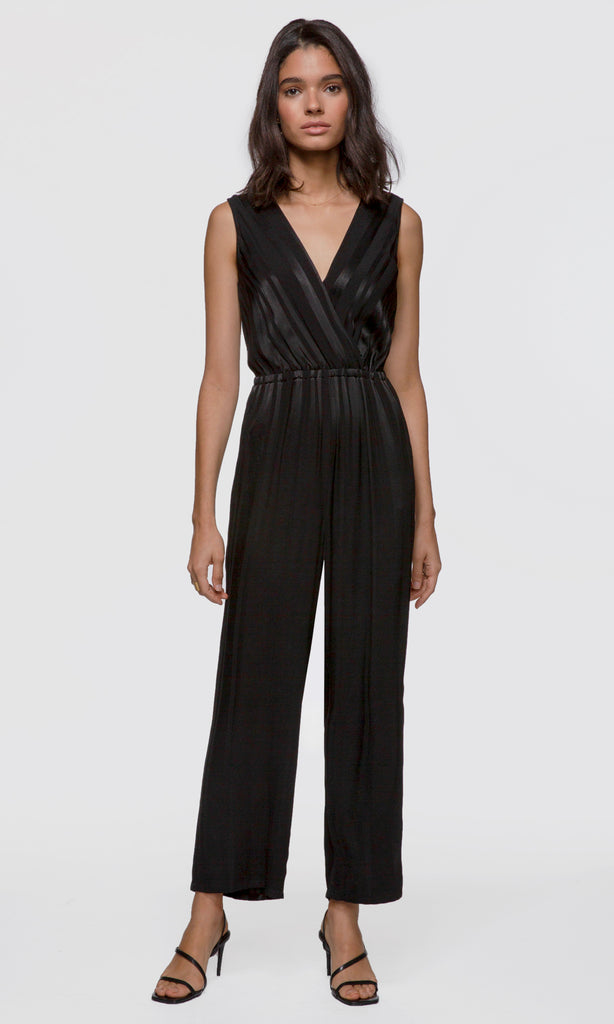 Maxine Surplice Shadow Stripe Jumpsuit