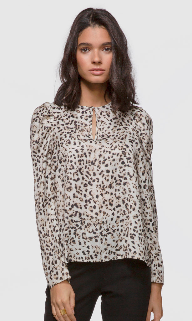 Women's leopard print long pouf sleeve keyhole blouse