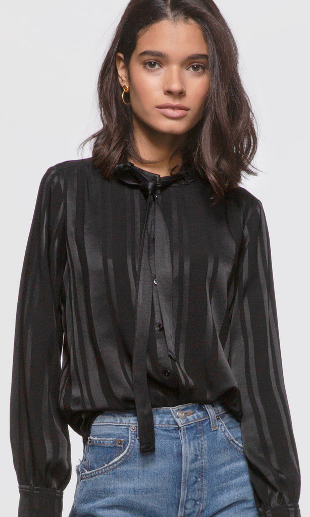 Blaire Tie-Neck Shadow Stripe Blouse