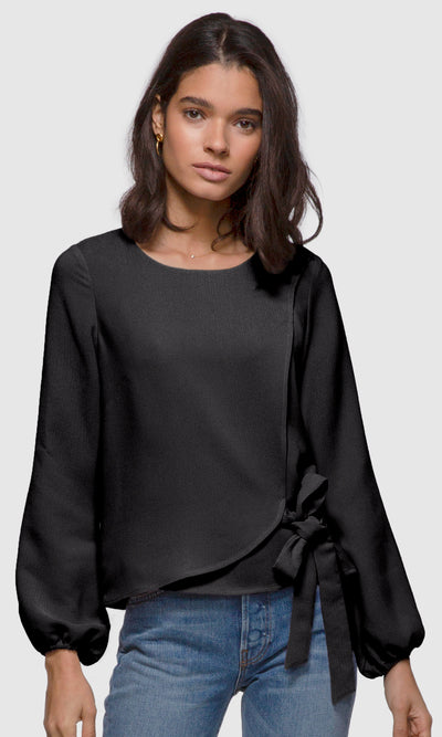 Women's black long sleeve side-tie textured blouse