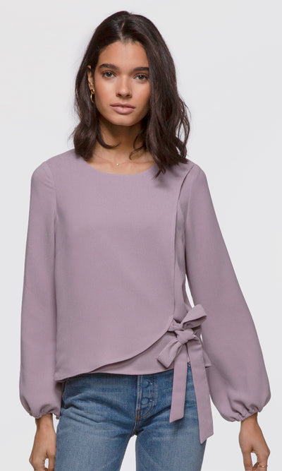 Women's lilac long sleeve side-tie textured blouse