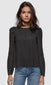 Women's black long pouf sleeve inset trim blouse