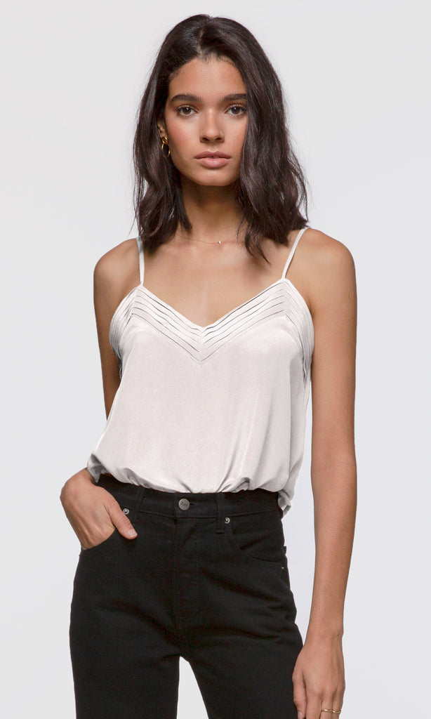 Women's white pleated v-neck silk cami