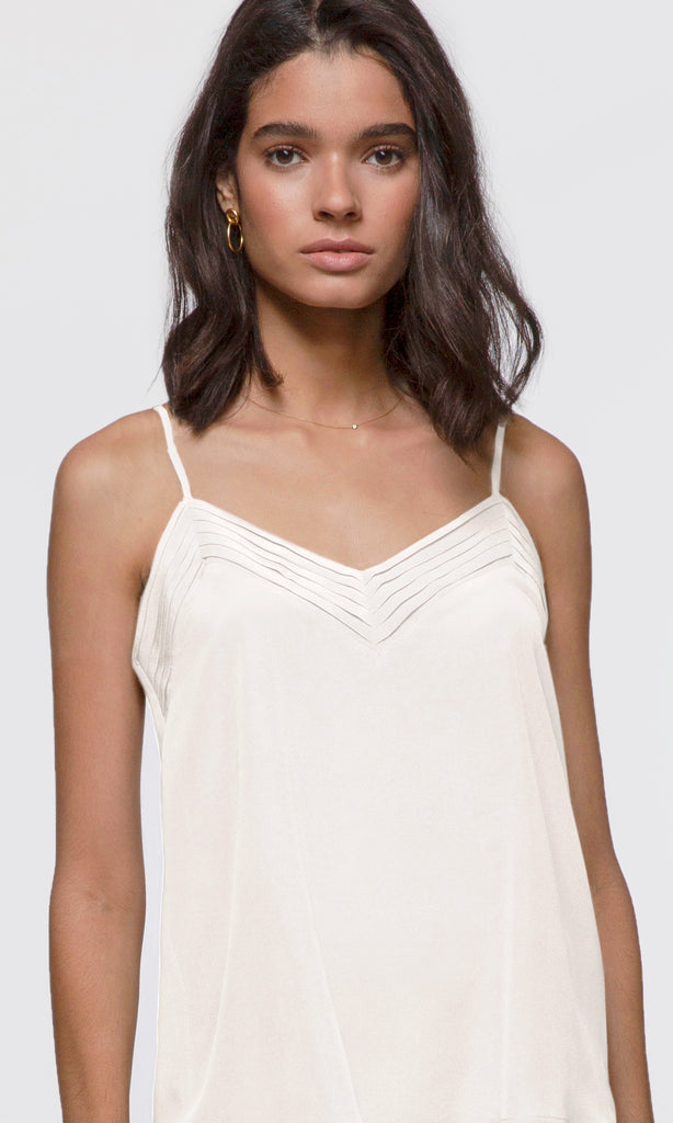Paige Pleated V-Neck Silk Cami