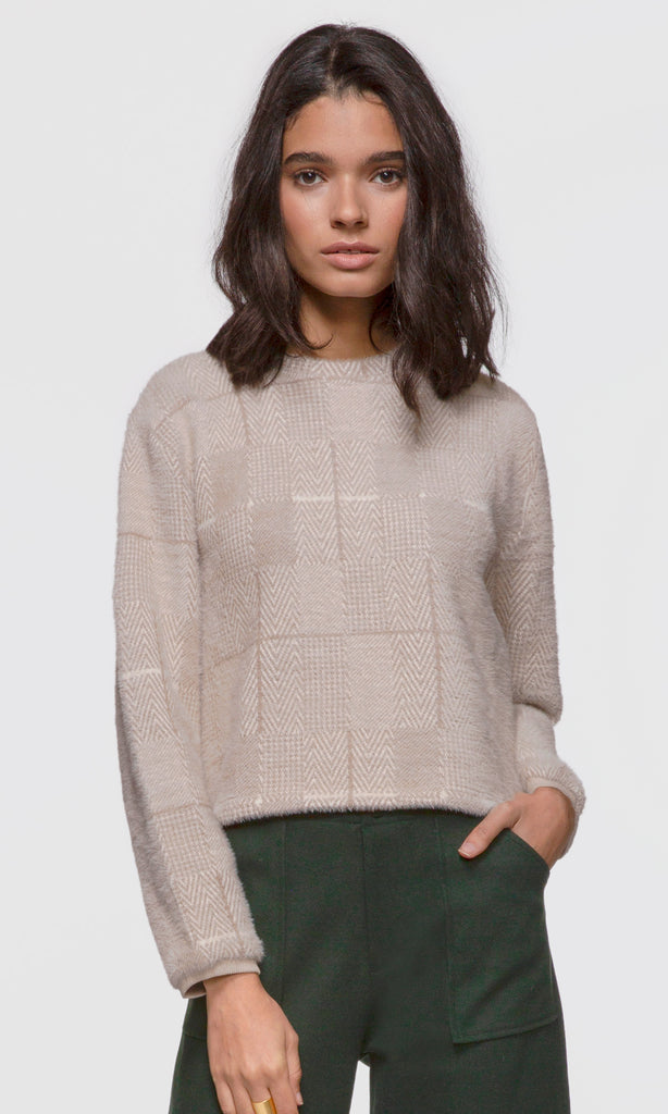 Women's nude herringbone soft knit fuzzy sweater