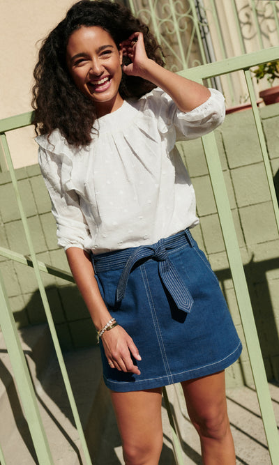 Bonnie Contrast Stitch Denim Skirt