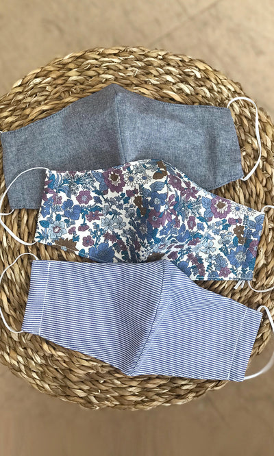 Breathable reusable cotton non medical stylish face mask  face covering floral denim and stripes