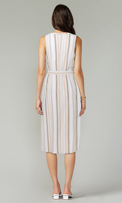 Denise Stripe Midi Dress w/ Self Tie