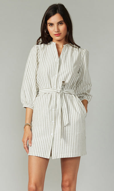 Brix Stripe Tunic Dress w/ Self Tie