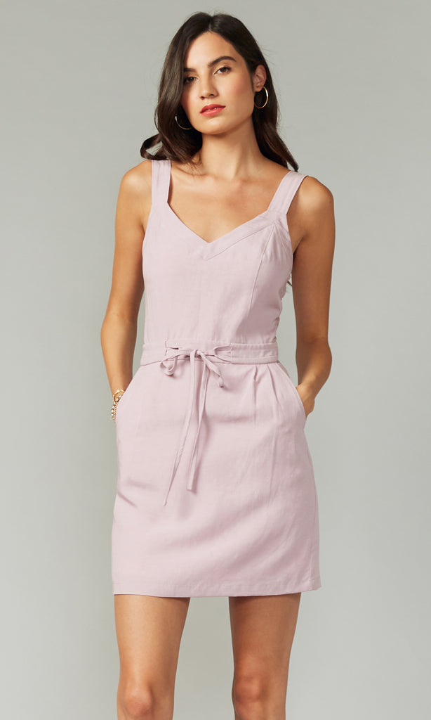 women's pastel lilac linen mini dress