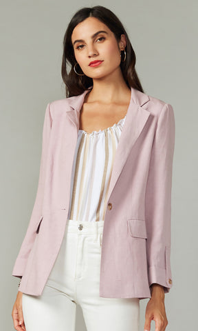 lilac button blazer linen