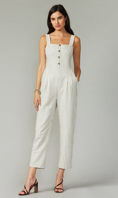 Kennedy Stripe Jumpsuit w/ Self Tie
