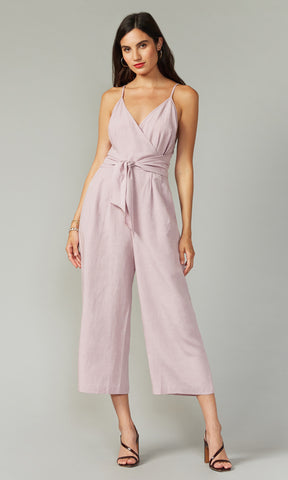 lilac linen jumpsuit with knot detail