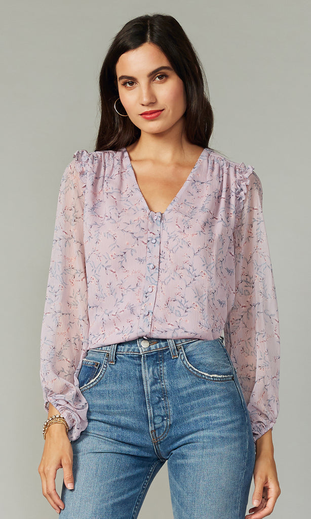 women's contemporary lilac floral blouse