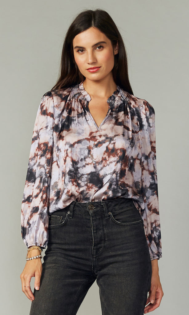 women's contemporary lilac tie-dye blouse