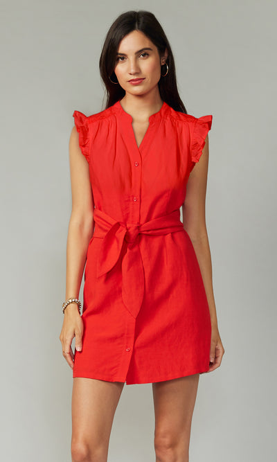 Jena Tie-Waist Tencel Linen Dress