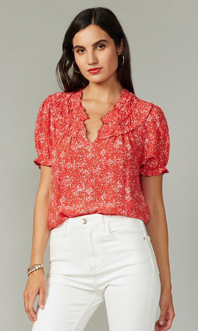 Lenza Gathered Detail Print Blouse