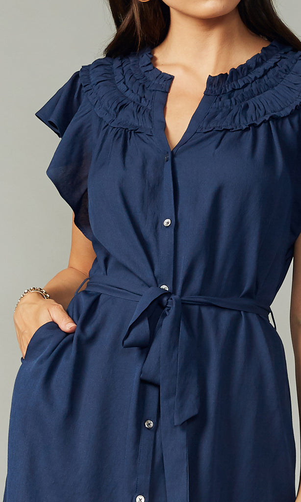 Lenza Gathered Detail Dress w/ Self Tie