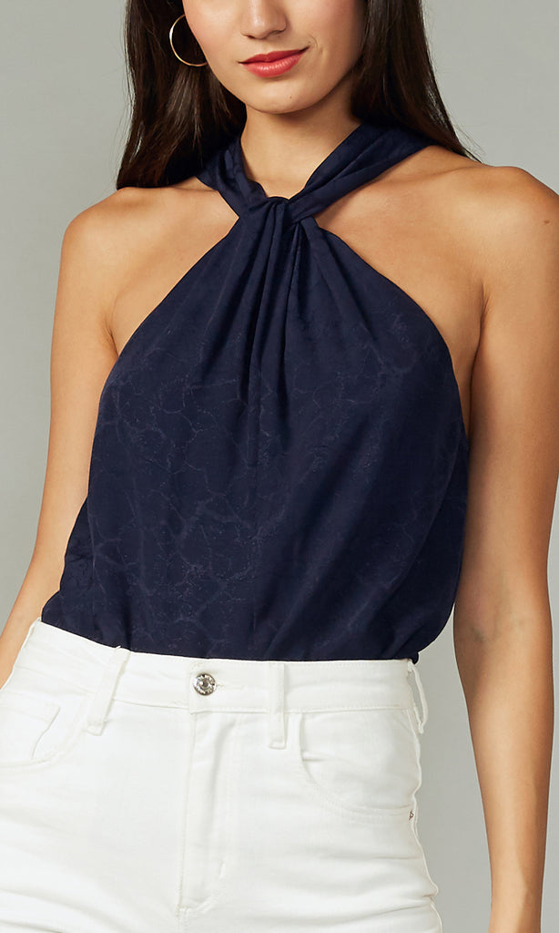 Phoebe Textured Viscose Halter Top