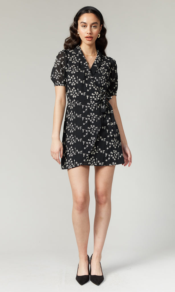 Elianna Embroidered Wrap Front Dress