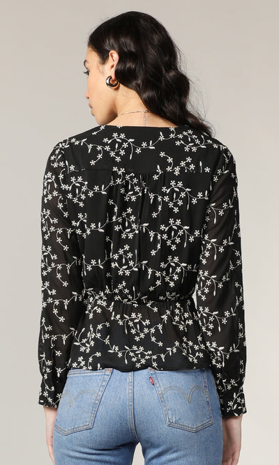 Amias Embroidered Wrap Front Blouse
