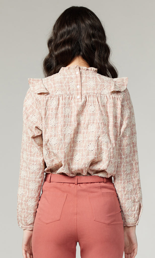 Goldie Embroidered Plaid Eyelet Blouse