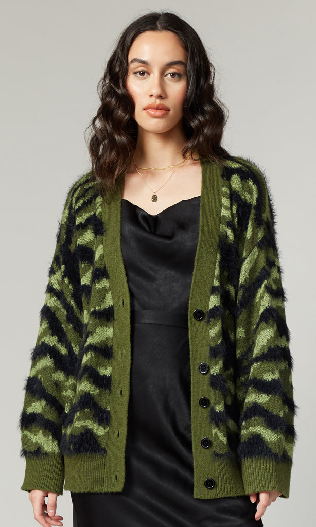Jules Army Sweater Knit Cardigan