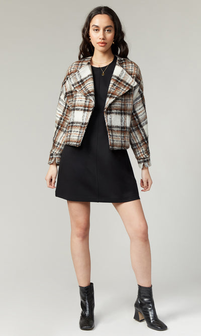 Dasia Brushed Plaid Moto Jacket