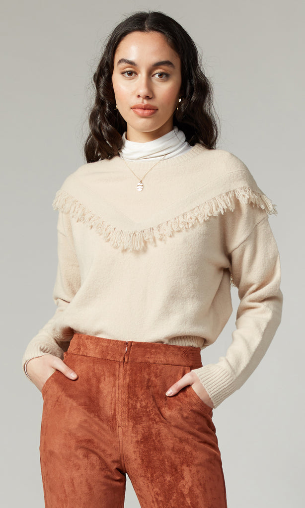 Arya Sweater Knit Pull Over With Fringe Detail